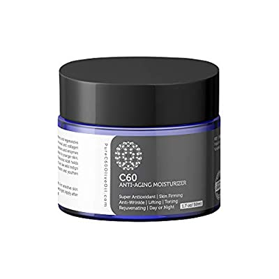 Carbon 60 Anti-Aging Moisturiser 50ml with Hyaluronic Acid, Vitamins B + C + E & CoQ 10 for Men & Women Made With Organic Ingredients
