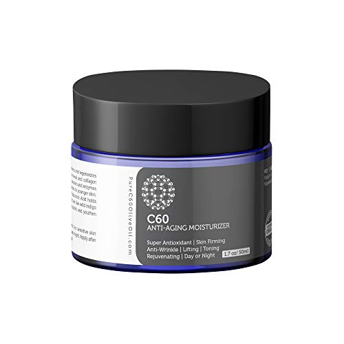 PureC60OliveOil Carbon 60 Anti-Aging Moisturizer Face Cream 50ml with Hyaluronic Acid, Vitamins B + C + E & CoQ 10 for Men & Women Made with Organic Ingredients - From The Leading Global Producer