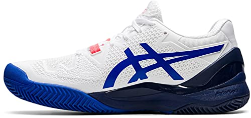 ASICS Gel-Resolution 8 Clay, Scarpe da Tennis Donna, White/Lapis Lazuli Blue, 39.5 EU