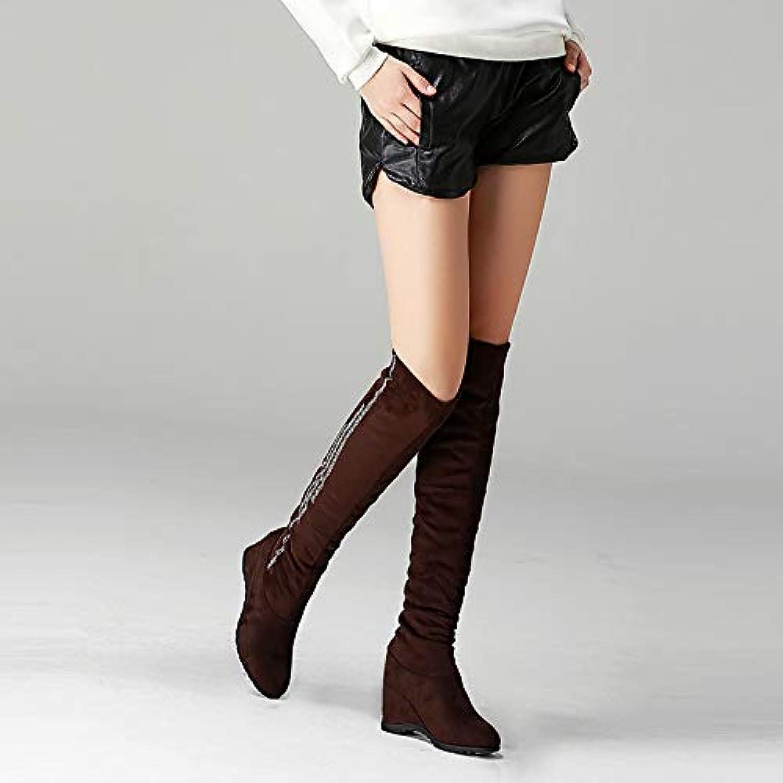 Shukun Stiefeletten High Stiefel Female Autumn and Winter Stovepipe Stretch Stiefel Over The Knee Stiefel Stiefel Increased Long Stiefel Thickening Woherren Stiefel