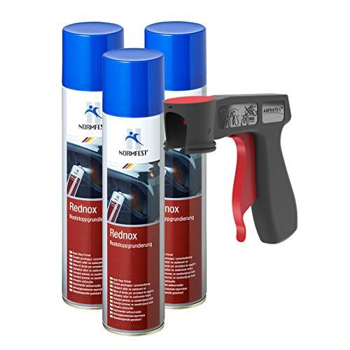 AUPROTEC Rostwandler Roststopp Grundierung Rednox Anti Rostspray Rost Stop Schutz Spray 3X 400ml + 1x Original Pistolengriff