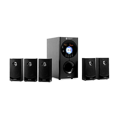 auna Areal Nobility Home Theatre System, 5.1-Channel Surround System with 120 W RMS, 35 W Subwoofer, Satellite Speaker, Bluetooth 3.0, USB, SD Slot, Supports: MP3 / WMA, AUX-in, Remote Control, Black