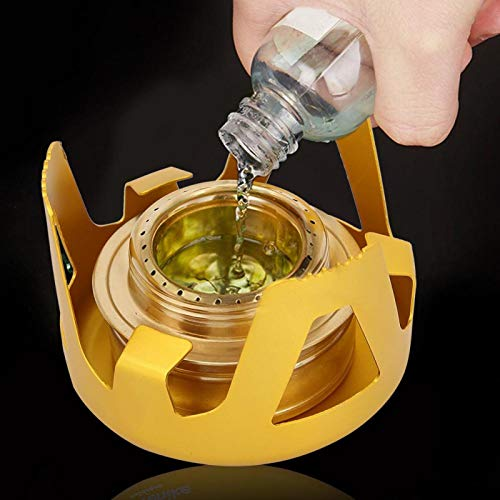 SALUTUYA with a Recommended Concentration Camping Alcohol Stove,for Cooking Picnic(Glass gold)