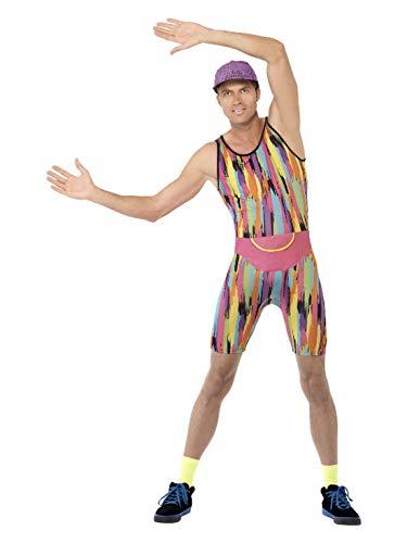 Halloweenia - Herren Männer 80er Jahre Aerobic Lehrer Fitness Trainer Outfit mit Bodysuit Kappe und Hüfttasche, perfekt für Karneval, Fasching und Mottopartys, L, Mehrfarbig
