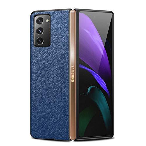per Samsung Galaxy Z Fold 2 5G Custodia in Pelle Ibrida Antiurto, Anti Acqua, Olio, Impronte digitali e Facile da Pulire (per Samsung Galaxy Z Fold2 5G, Blu)