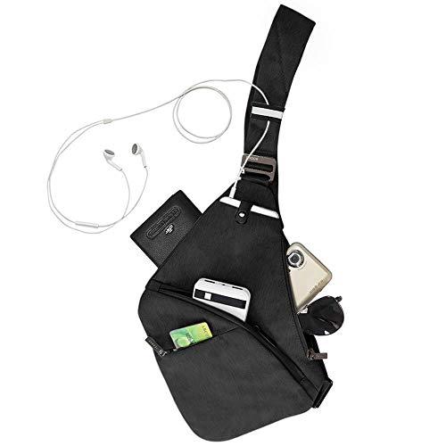 Bandolera pequeña para Hombre y Mujer. Bolso Ligero y Deportivo de Color Negro. Crossbody o Bolso Cruzado antirrobo con protección RFID para Tarjetas contactless. Ideal para Deportes y excursiones.