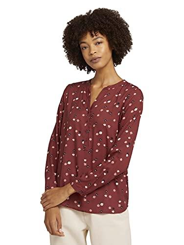 TOM TAILOR Damen Print Tunica Bluse, Rot, 28510 - Red Flower Design, 42