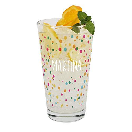 Herz & Heim® Trinkglas im Konfetti Design mit Ihrem Wunschnamen bedruckt Konfetti