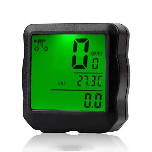 Impermeable luz de Fondo Digital de Bicicletas Ordenador Cuentakilómetros Velocímetro Reloj Cronómetro Bicicleta Accesorios,Green