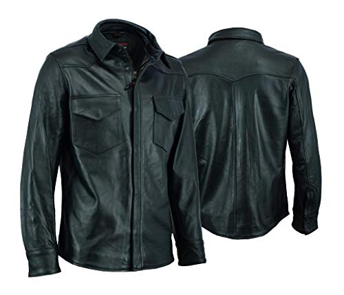 Black Motorcycle Bikers Leather Shirt for Men