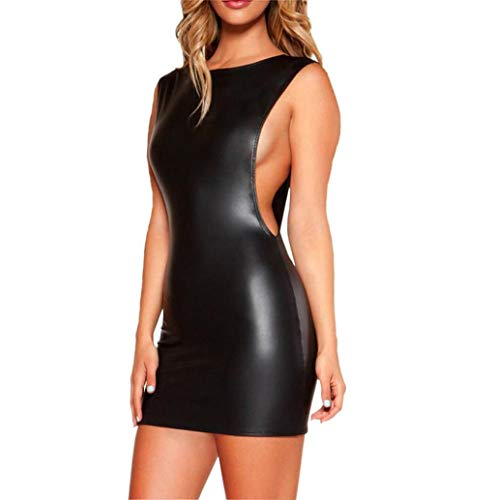 Sexy Ensembles de Lingerie, LONUPAZZ Femmes Noire sans Sexy Backless Manches en Similicuir Wet Dress Body Bodywear Dress Nuisettes Broderie Voir-a Travers Mince