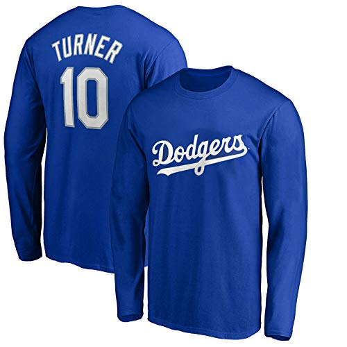 Outerstuff MLB Youth 8-20 Team Color Player Name and Number Long Sleeve Jersey T-Shirt (Large 14/16, Justin Turner Los Angeles Dodgers Blue)
