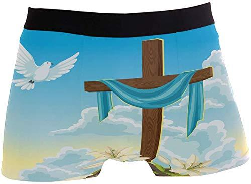 OMAJIG Herren Boxershorts aus Holz mit Kreuz-Lilien, hoher Bund, Stretch, mit Tauben-Motiv Gr. S, blumenmuster