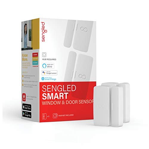 Sengled Smart Window & Door Sensor, Hub Required, Compatible with Alexa, Google Assistant and SmartThings, 2 Pack