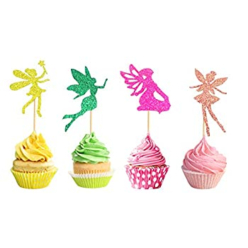 Arthsdite Pack of 48 Glitter Pre-Assembled Flower Fairy Cupcake Toppers Angel Fairy Pixie Cupcake Picks Glitter Ballet Dancer Toppers for Birthday Bridal Shower Baby Shower Wedding Decoration