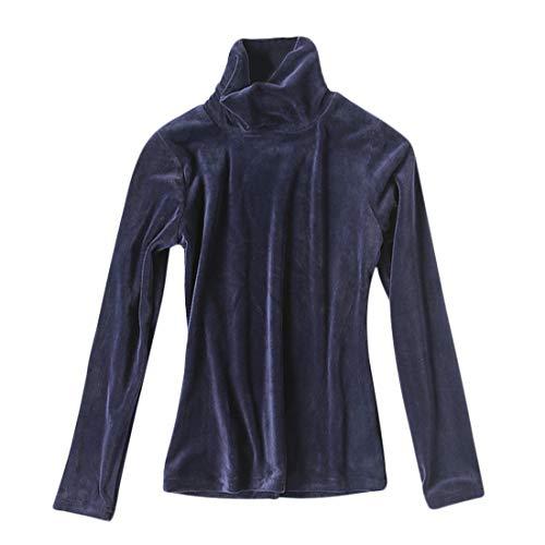 DEBAIJIA Camiseta Interior Térmico Manga Larga para Mujer Ropa Camisa EspesarTerciopelo Transpirable Delgado Suave Jersey Cuello Alto Ligera y Cálida