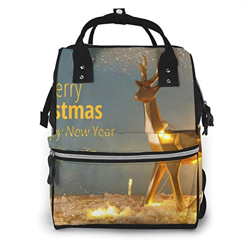 UUwant Diaper Bag,Versatile Stylish and Durable, Suitable for Mom and Dad,Gold Shiny Reindeer On Snowy Wooden Table with Christmas Garland LightsÂ
