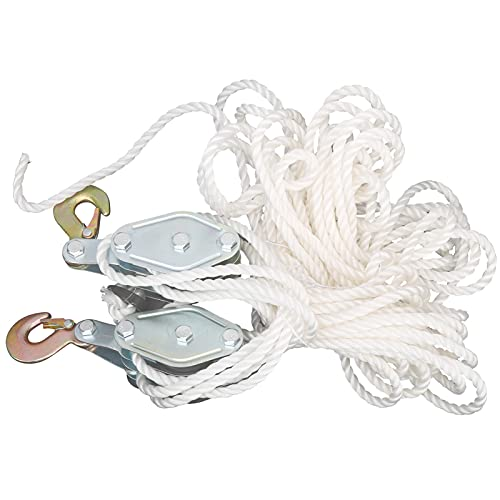 Pulley Block, Hoist Pulley 4000LB Galvanized Steel with Multi Nylon Rope for Lifting Objects