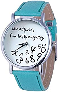 Fashion Alphabet Number Pattern Leather Strap Watch(Black) Personality (Color : Green)