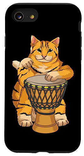 iPhone SE (2020) / 7 / 8 Funny Cat Playing Djembe Gift | Cute Kitten Musician Fan Case