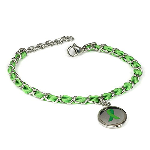 My Identity Doctor Custom Engraved Green Awareness Bracelet - Silk Woven 316L Steel