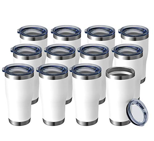 HASLE OUTFITTERS 20oz Tumbler Double Wall Vacuum Insulated Mug with Lid Stainless Travel Mug Durable Exterior Powder Coating for Ice and Hot Beverage White 12Pack