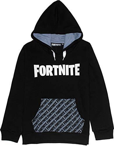 Epic Games Fortnite Kinder Jungen Text Logo Pullover Hoodie Sweatshirt Schwarz 9-10 Jahre (140CM)