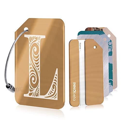 Eerste bagagelabels voor mannen en vrouwen, gepersonaliseerde roestvrijstalen bagagelabels voor koffers, met 3 bonusnaam-ID-kaarten en 2 roestvrijstalen lussen,Letter L Rose Gold