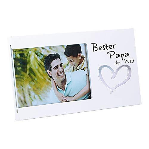 Cepewa Bilderrahmen Bester Papa der Welt Fotorahmen Spiegel-Herz Rahmen für Bild 15 x 10 cm (1 x Bilderrahmen Bester Papa der Welt)