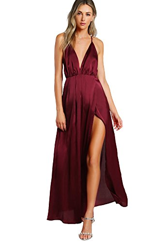 SheIn Women's Sexy Satin Deep V Neck Backless Maxi Party Evening Dress Burgundy X-Small