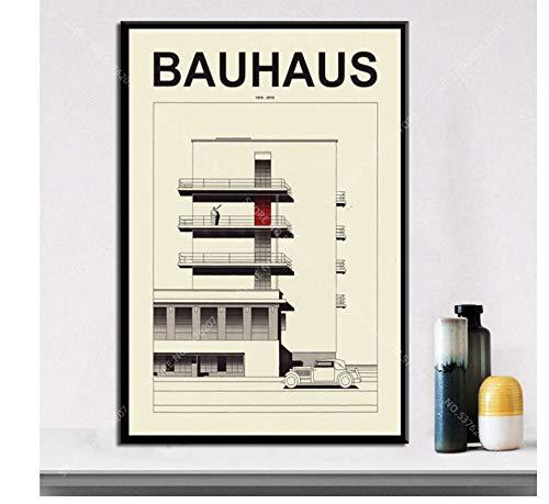 asfrata265 Rahmenlose Malerei Art Decor Bauhaus Ausstellung 1923 Weimer Ausstellung Abstraktes Kunstwerk Moderne Wandkunst Leinwand Malerei Poster Szx287 40X50Cm