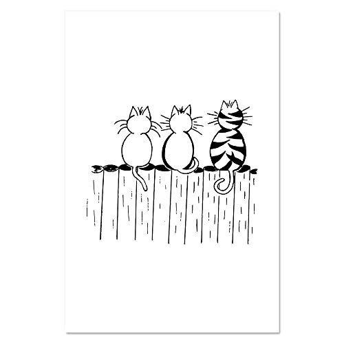 Azeeda Super A1 'Katzen auf einem Zaun' Poster / Kunstdruck (PP00105077)