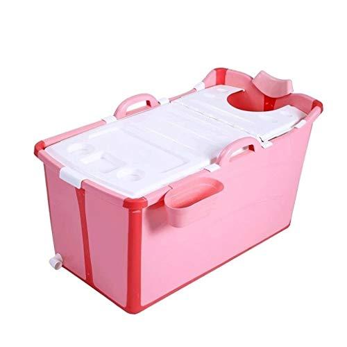 Badewannen Große Faltbare Baby-Kinderbadewanne, beweglicher Pool Whirlpool for Kinder um, lang Isolationszeit mit Abdeckung Tauchbad 0-10 Jahren alt Wanne (Color : Pink)