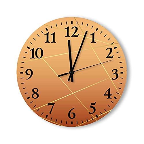 Reloj de pared redondo de 15 pulgadas, rústico, moderno, de madera, líneas doradas y telón de fondo pastel para decoración de sala de estar, madera, para cocina, dormitorio, hogar