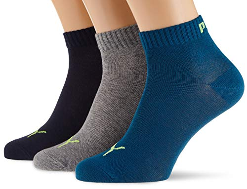 PUMA unisex-adult quarter plain (3 pack) Socks, petrol blue, 35/38 (3er Pack)