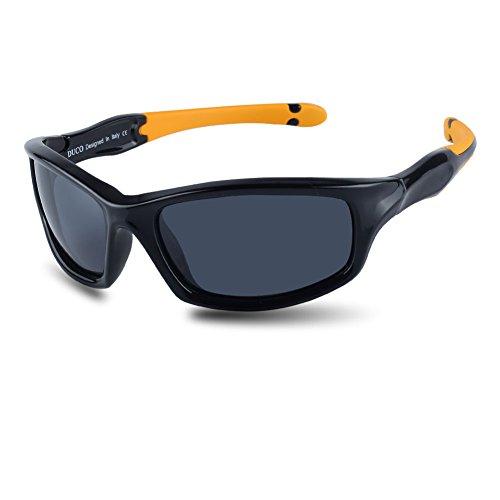 DUCO kinder sport style polarisierenden sonnenbrillen flexiblen rahmen für die jungen und mädchen k006 (Schwarz/Grau)