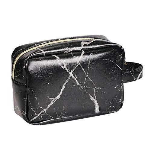 PU Sac en marbre de Maquillage Sac fourre-Tout Portable Mode Toiletry Femmes Organisateur Cas Sac cosmétique for la Maison en Plein air Voyage (Color : Black, Size : M)