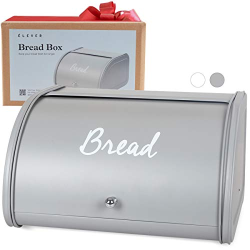 Bread Box for Kitchen Countertop - Farmhouse Bread Boxes For Homemade Bread, Sourdough Crock | Food Safe & Rust-Resistant | Stainless Steel, Large Kitchen Storage Container - Nordic Grey