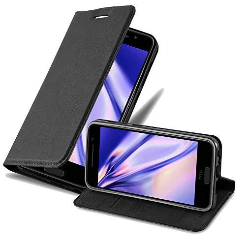 Cadorabo Hülle für HTC ONE A9 - Hülle in Nacht SCHWARZ – Handyhülle mit Magnetverschluss, Standfunktion & Kartenfach - Hülle Cover Schutzhülle Etui Tasche Book Klapp Style