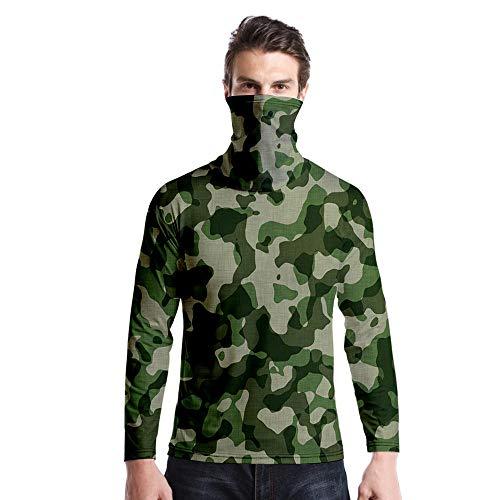 T-Shirt À Manches Longues,Casual Long Sleeve Imprimé Vert Foncé Camouflage Col Rond Unisex T-Shirt Tops Imprimé Chemisier Body Shirt avec Écharpe Hommes Femmes Automne Hiver Pullover Sweatshirt