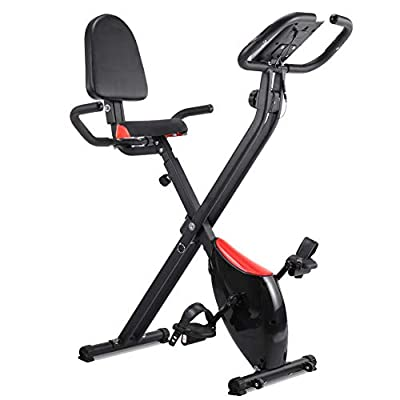 IDEER Folding Exercise Bike,Foldable Magnetic Upright Exercise Bike with 8 Resistance Levels,Heart Rate,Speed,Time,Distance,Calorie Monitor,Fitness Stationary Exercize Bike w/Phone Holder. (Black)