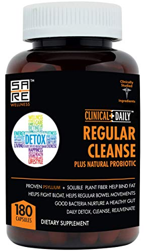 CLINICAL DAILY Regular Cleanse Plus Natural Probiotic - Colon Cleanser & Detox Supplement - Assists with Weight Loss and Constipation Relief - Herbal Dietary Fiber Psyllium Husk Capsules - 180 Count