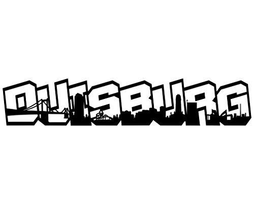 Samunshi® Wandtattoo Duisburg Schriftzug Skyline Graffiti Duisburg schwarz 120x23cm