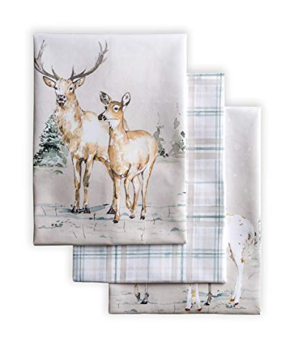 Maison d' Hermine Deer in The Woods 100% Cotton Set of 3 Multi-Purpose Kitchen Towel Soft Absorbent Dish Towels | Tea Towels | Bar Towels | Thanksgiving/Christmas (20 Inch by 27.50 Inch)