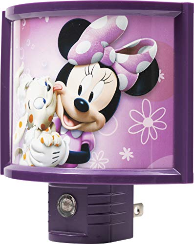 Disney 13367 Minnie Mouse Automatic LED Children's Night light, Wraparound Shade, Light Sensing, Auto On/Off, Plug-In, Soft Pink Glow, Energy Efficient, Featuring Bella from Mickey Mouse Clubhouse
