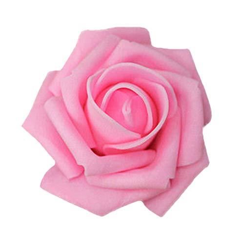 50x Foamrosen Schaumrosen Schaumköpfe Künstliche Blume Brautstrauß Party Hause Dekor Rosen Rosenköpfe - Dunkel Rosa