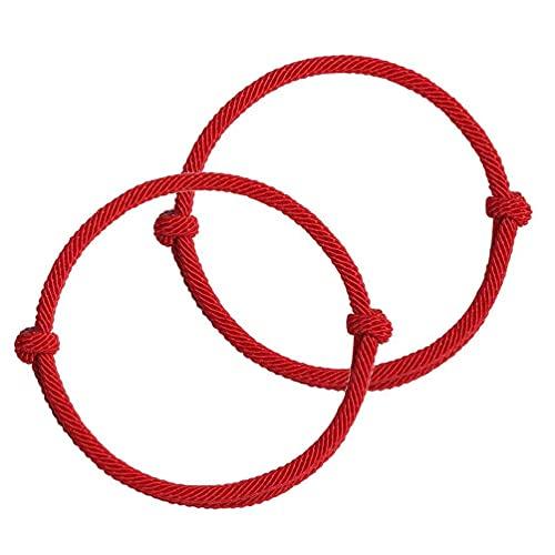 2 pulseras rojas de la amistad del destino protección de la Cabalá buena suerte, pulseras simples a juego para amantes, mujeres, hombres, pulseras para hombres y hombres personalizados