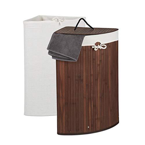 Relaxdays Eckwäschekorb Bambus, Faltbarer Wäschesammler mit Deckel, 60 Liter, 2 Wäschesäcke, 66 x 49,5 x 37 cm, braun, 1 Stück