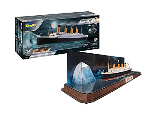 Revell- RMS Titanic Set mit Dem Schiffsmodellbausatz 1:600 und einem 3D-Puzzle als Eisberg Diorama, 61,7 cm Accesorios, Color Coloreado (RV05599)