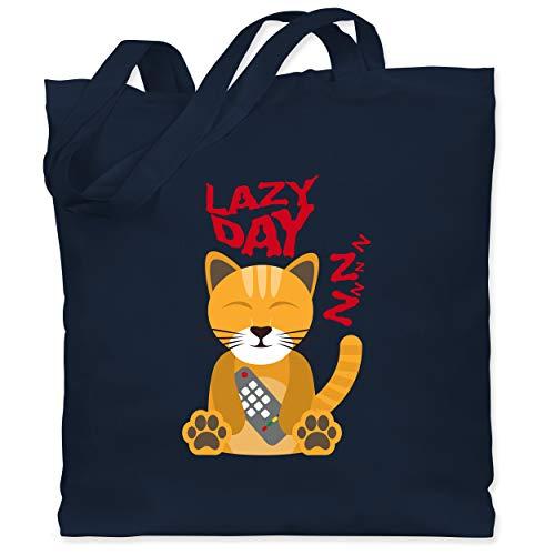 Comic Shirts - Lazy Day - Unisize - Navy Blau - Statement - WM101 - Stoffbeutel aus Baumwolle Jutebeutel lange Henkel